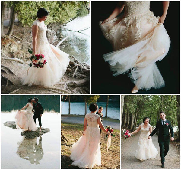 Unique Blush Lace Wedding Dress