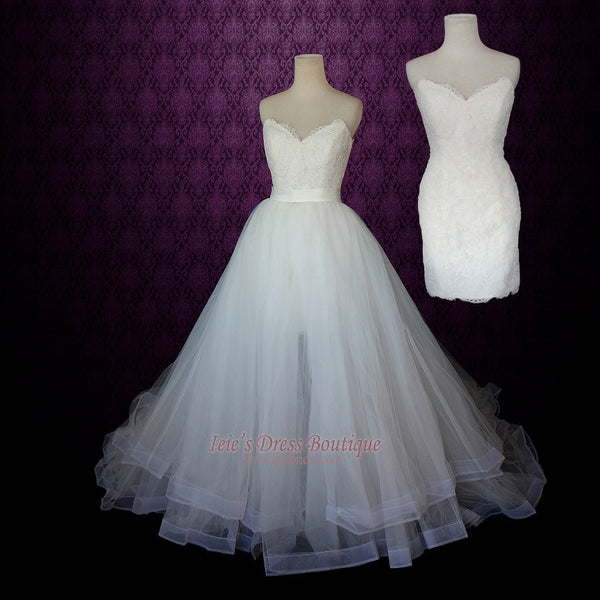 Strapless Two Piece Convertible Wedding Dress