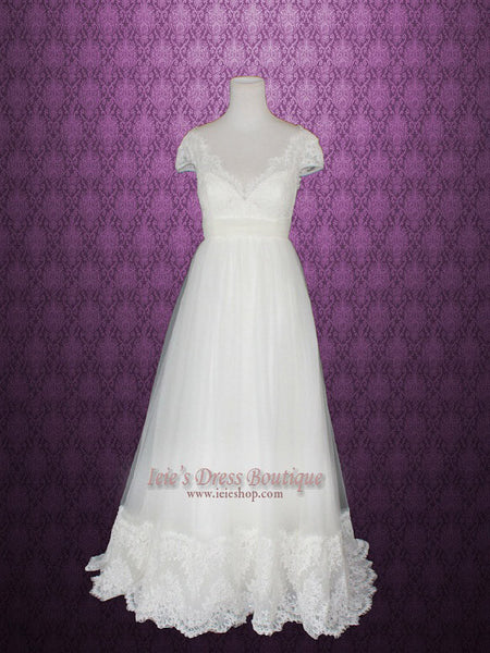 French Lace Tulle Wedding Dress