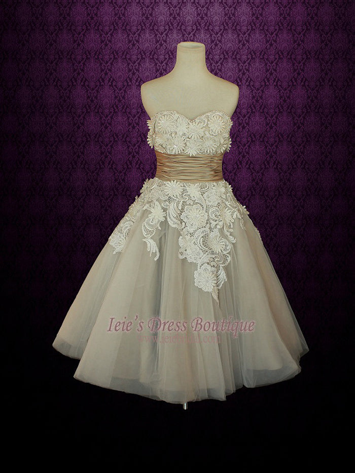 Sweetheart Tea Length Wedding Dress