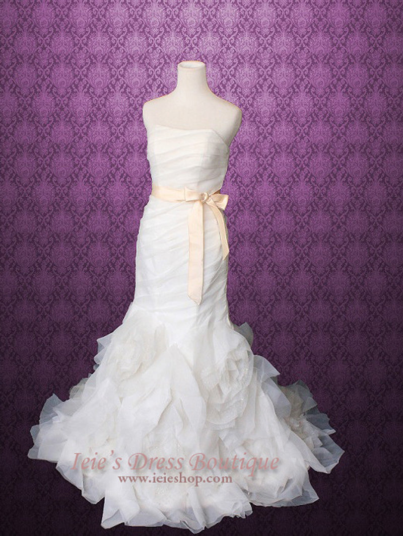Strapless Organza Ruffle Mermaid Wedding Dress