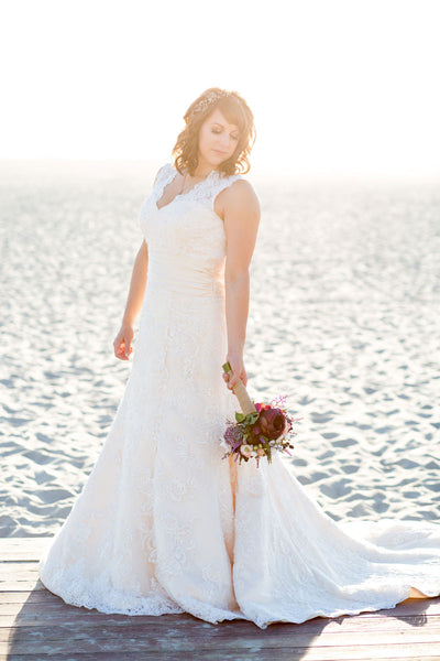 Vicky in vintage lace wedding dress
