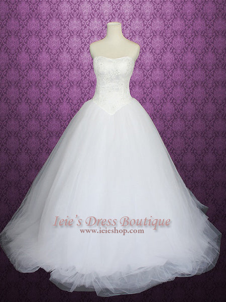 Strapless Tulle Ball Gown Princess Wedding Dress