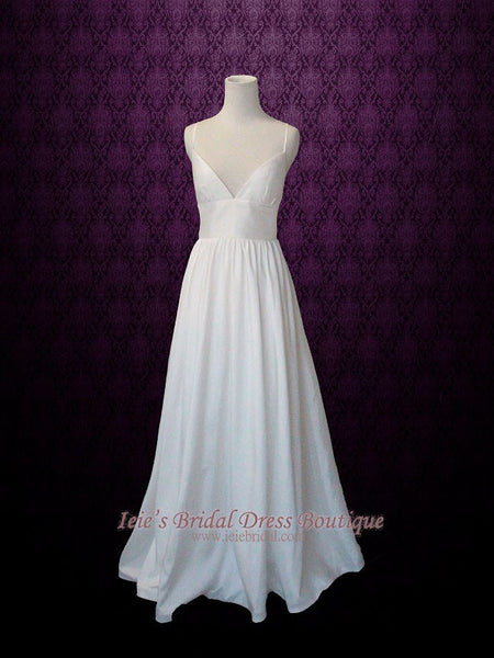 Slim A-line Beach Wedding Dress