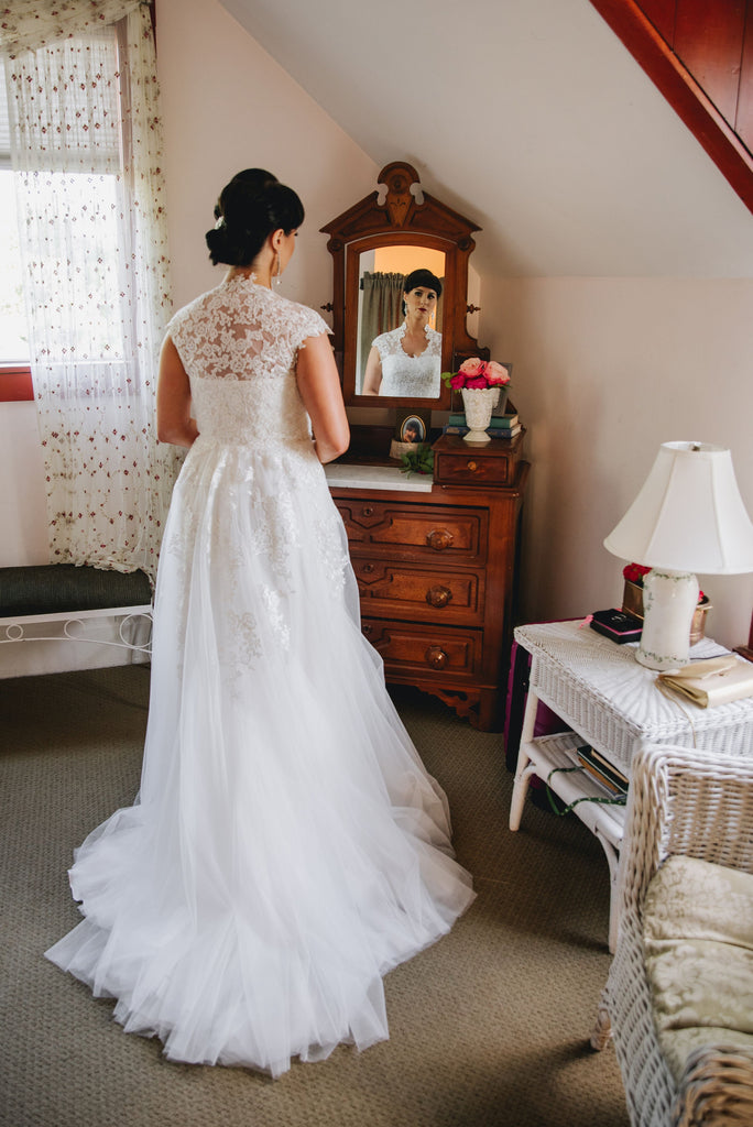 Amber's boho lace wedding dress