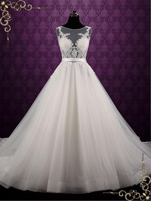 Ballgown Style Lace Wedding Dress with Open Back