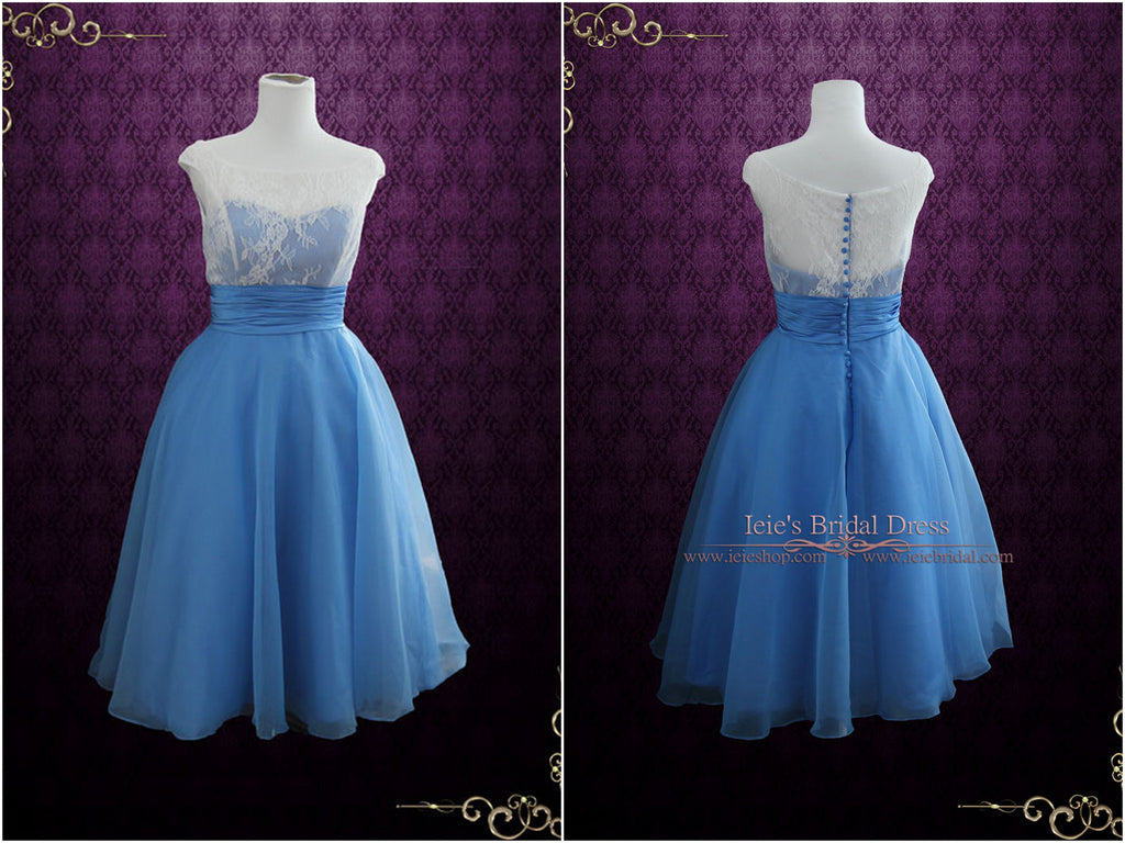 Modest Blue Retro Tea Length Bridesmaid Dress
