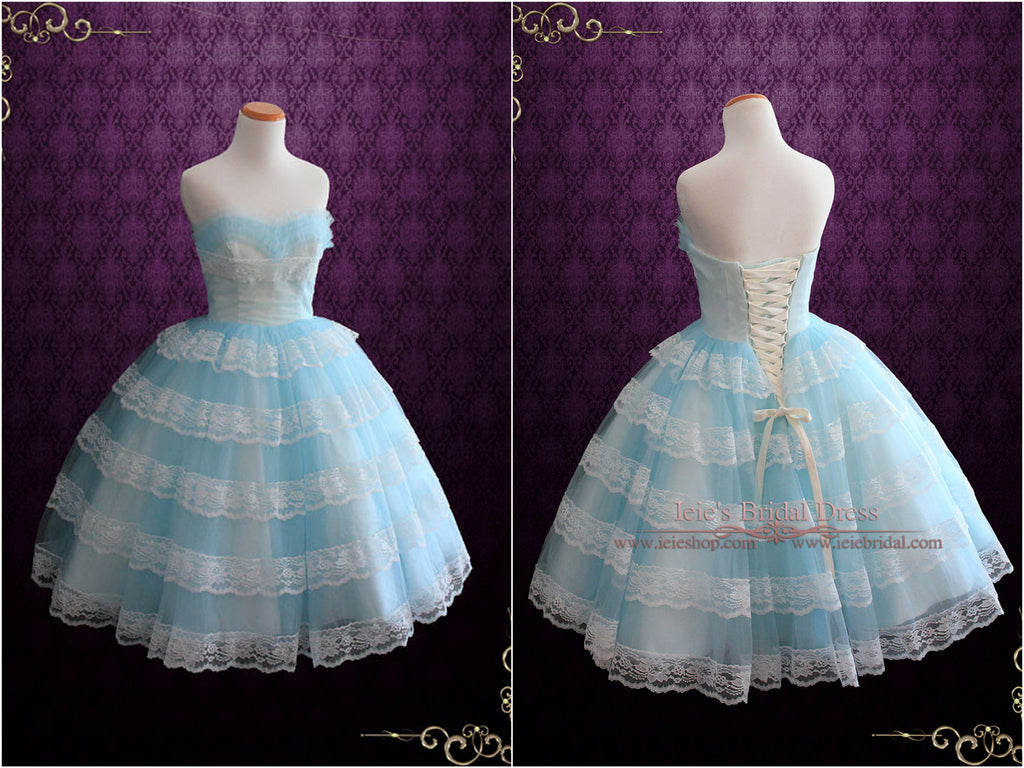 Blue Retro Ruffle and Lace Bridesmaid Dress