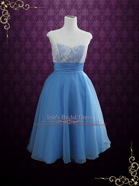Blue Short Wedding Dress