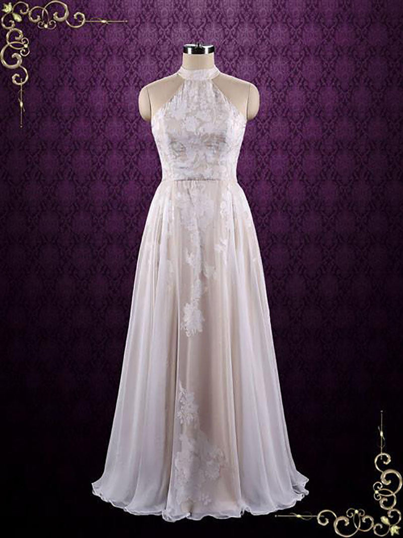 Halter Lace Chiffon Evening Dress