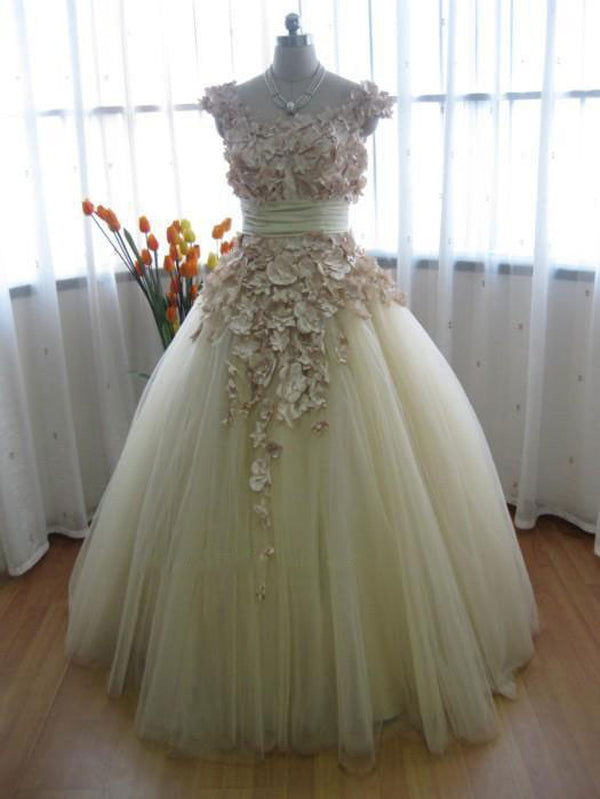 Wedding Ball Gown with Satin Flowers