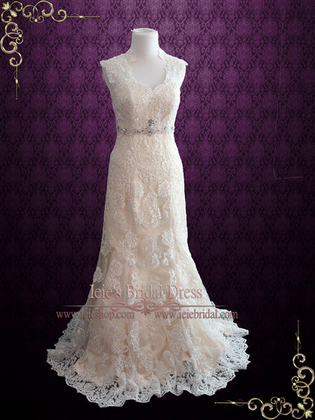Lace Mermaid Wedding Dress with Keyhole Back