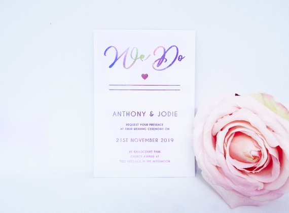 Colorful Foil Wedding Invitation