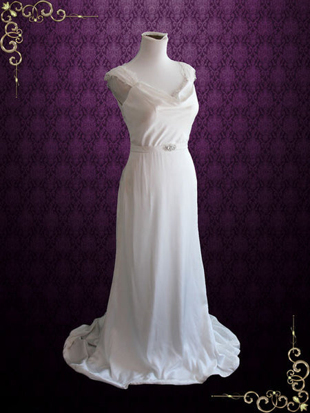 Cowl Neck Slim A-line Wedding Dress