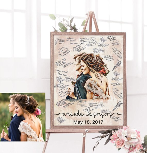 custom portrait wedding guestbook