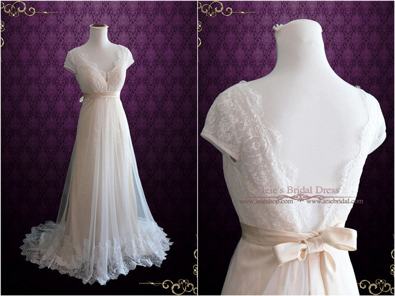 Whimsical Empire Lace Wedding Dress