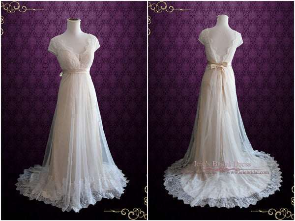 Whimsical Empire Waist Wedding Dress with Cap Sleeves