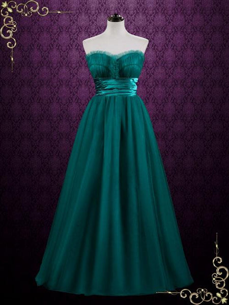 Green Strapless Long Tulle Formal Gown