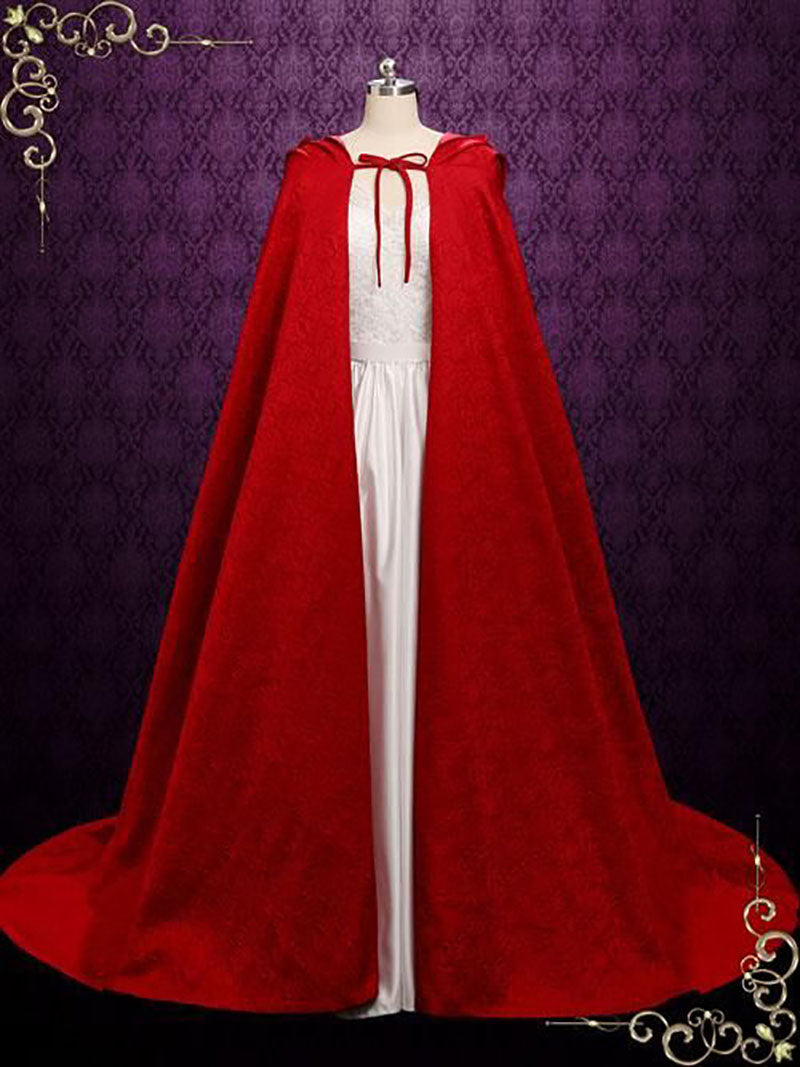 Long Red Cloak With Hood