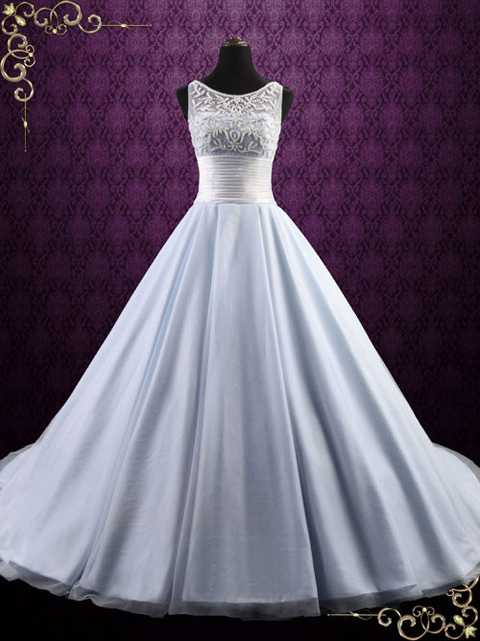 Ice Blue Ball Gown Wedding Dress