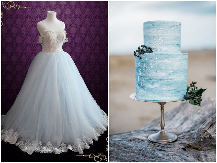 Light Blue Princess Dress and Blue Cake