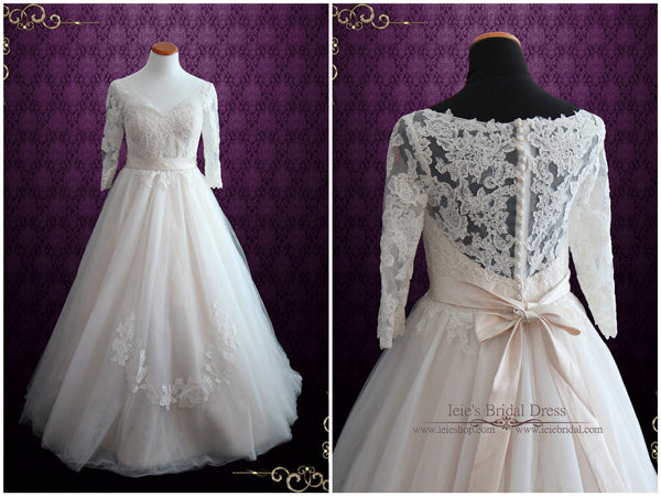 Illusion Lace Princess Ball Gown Wedding Dress