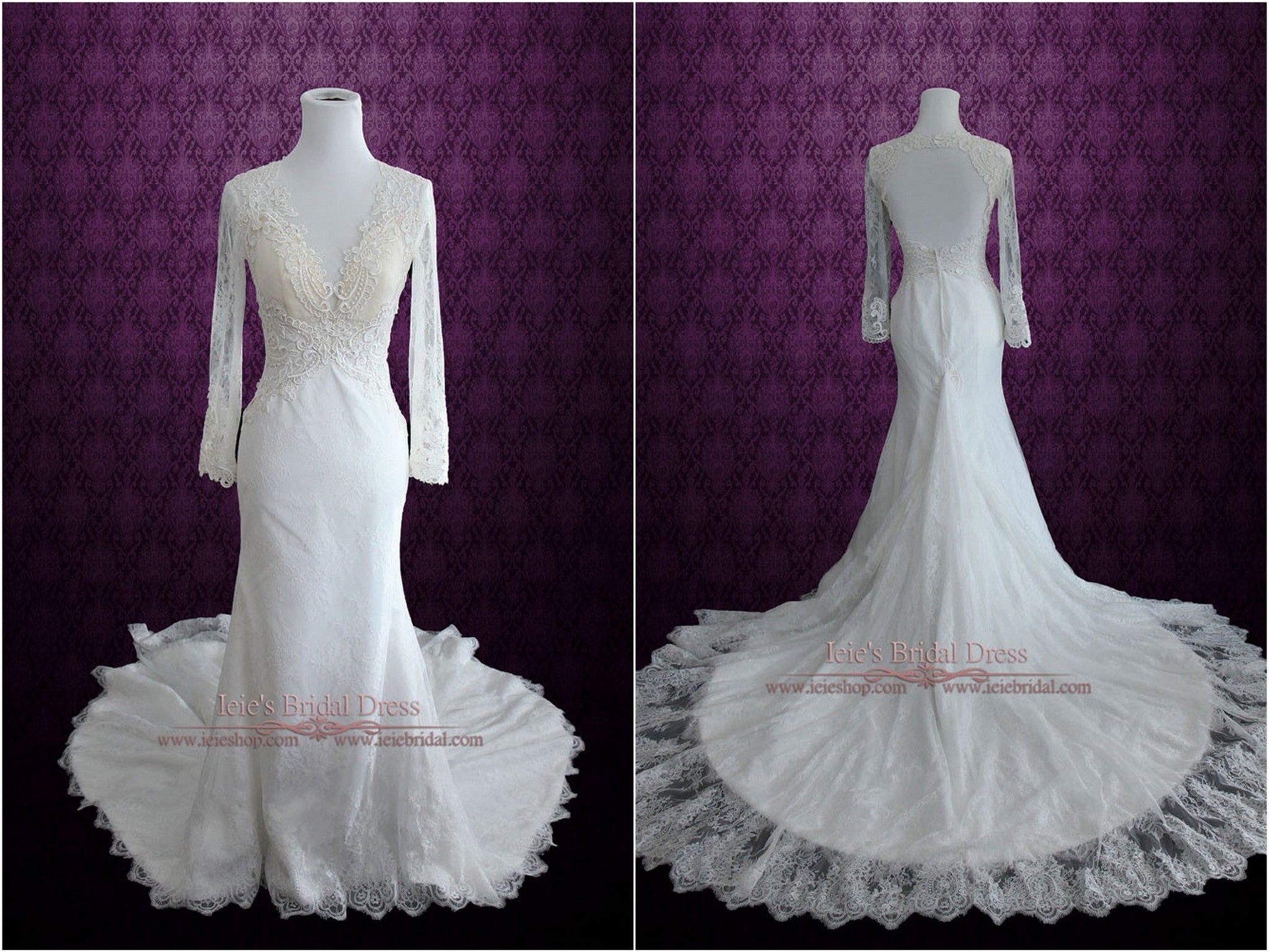 Long Sleeve Vintage Keyhole Wedding Dress