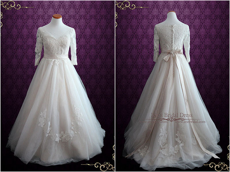 Illusion Lace Ball Gown Wedding Dress