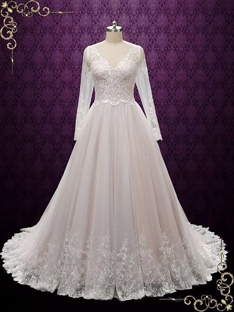 Long Sleeve Wedding Dress With Nude Lining