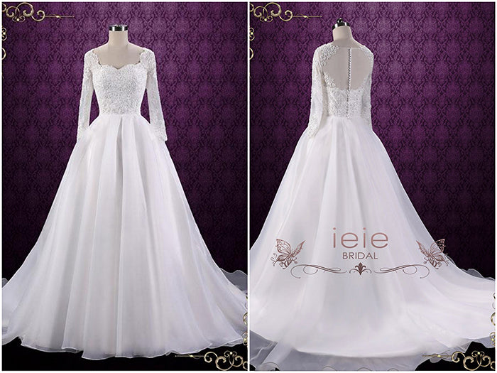 Ball Gown Style Lace Wedding Dress with Sleeves