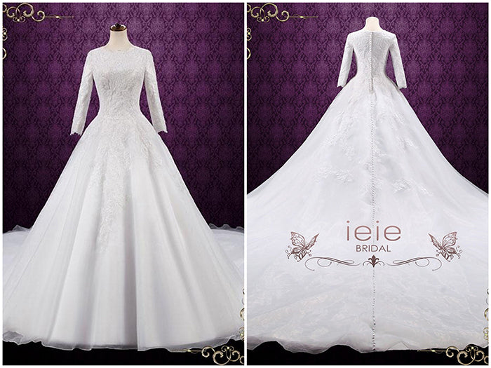 Modest Lace Ball Gown Wedding Dress