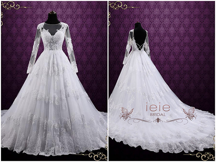 Ball Gown Lace Wedding Dress with Long Sleeves