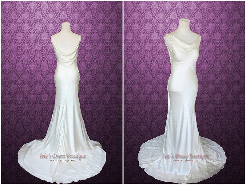Retro Hollywood Low Back Silk Wedding Gown