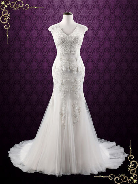 Lace Mermaid Wedding Dress with Soft Tulle