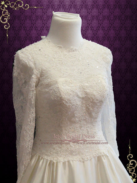 Wedding Dress with High Lace Illusion Neckline