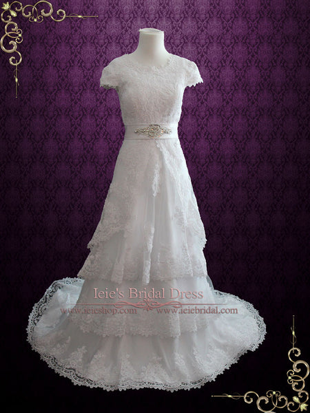 Modest Wedding Dress With Lace Cap Sleeves
