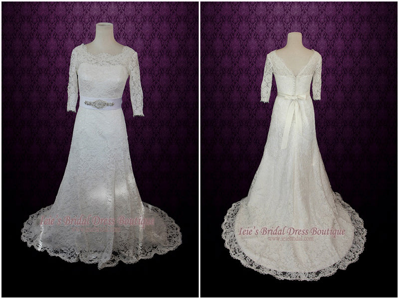 Vintage Modest Lace Wedding Dress with Long Sleeves