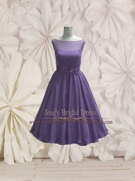 Retro Purple Tea Length Bridesmaid Dress