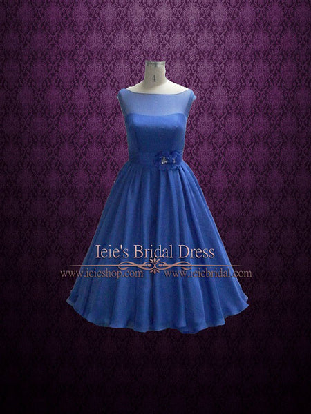 Royal Blue Tea Length Bridesmaid Dress
