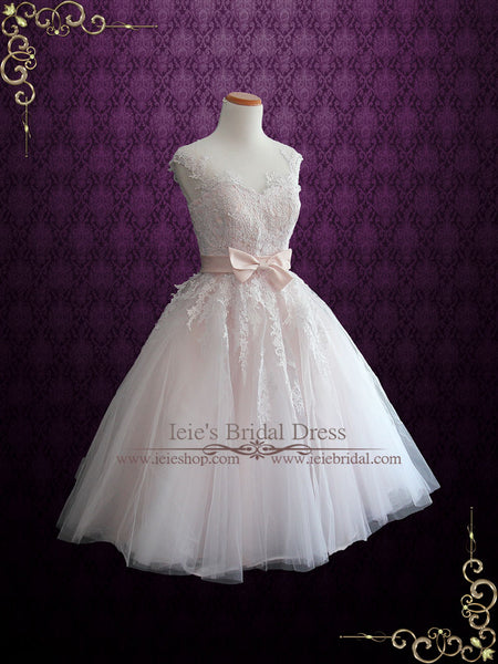 Pink Tea Length Wedding Dress