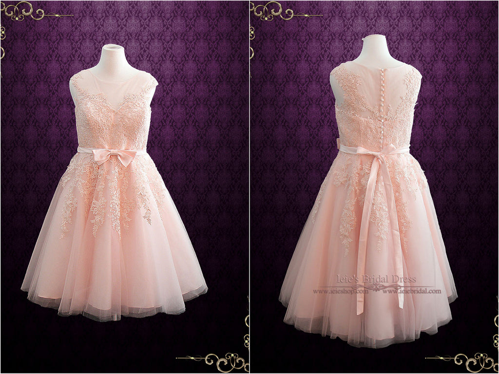 Pink Retro Tea Length Bridesmaid Dress