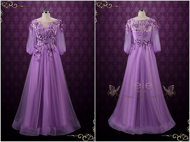Purple Floral Formal Wedding Dress