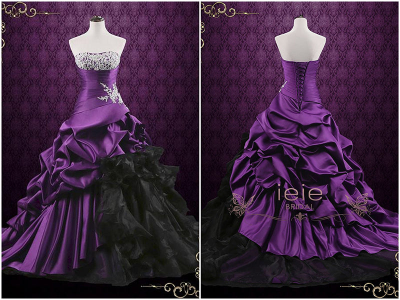 Unique Purple Lace Ball Gown