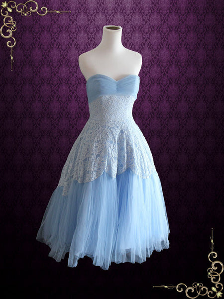 Blue Strapless Tea Length Formal Dress
