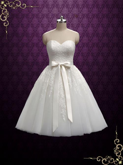 Strapless Tea Length Wedding Dress With Lace