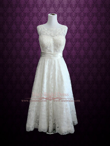 Retro Boat Neck Lace Wedding Dress