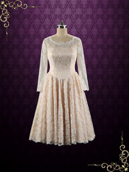 Retro Champagne Tea Length Bridesmaid Dress