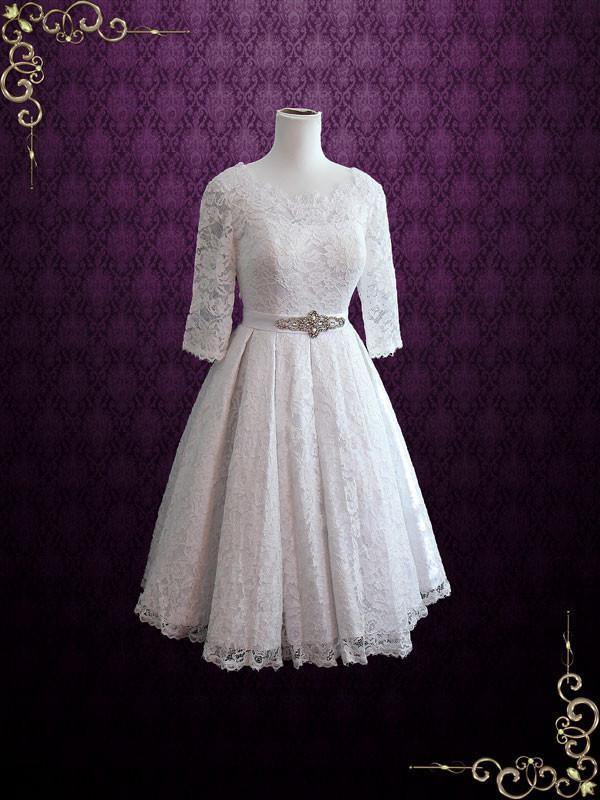 Tea Length Pleated Lace Wedding Dress with Sleeves