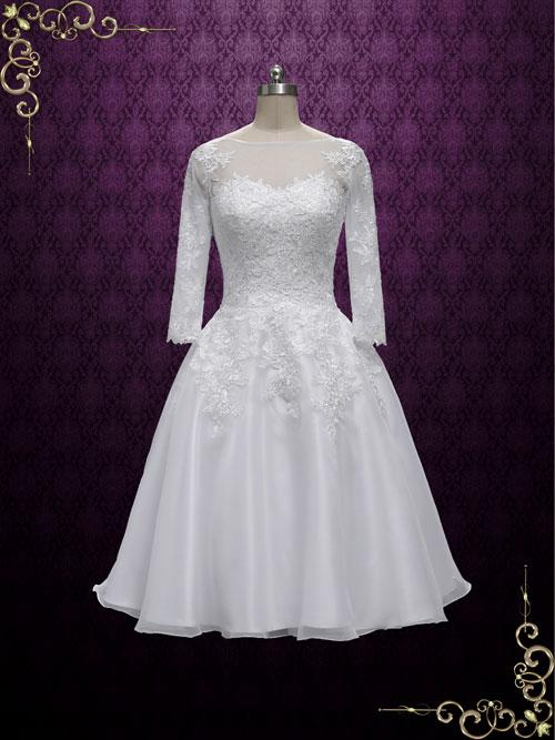 Vintage Style Tea Length Lace Wedding Dress with Sleeves