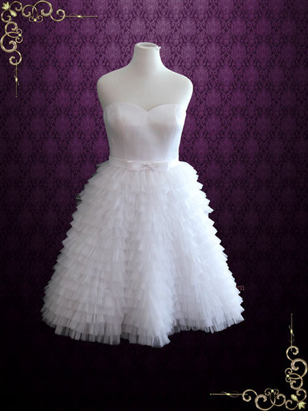 Retro Short Ruffled Wedding Dress